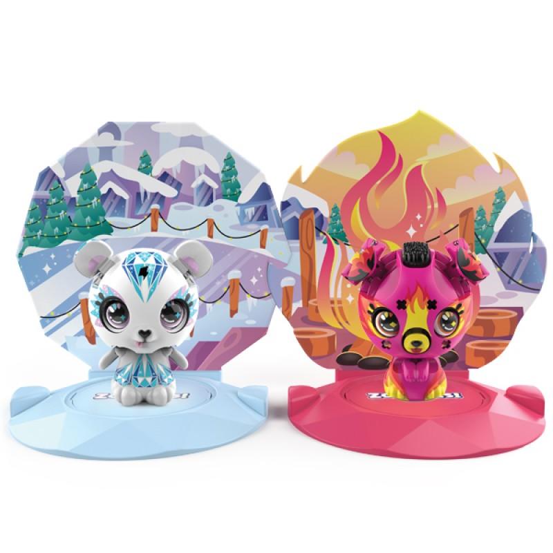 ZOOBLES 爆趣小彈丸 ANIMALS & HAPPITAT - 2 PACK (Icy POLAR PAWZ & Firey ELLA EMBERZ) 動物大變身場景系列 (兩粒裝-冰雪熊與星火汪汪)