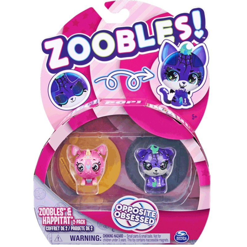 ZOOBLES 爆趣小彈丸 ANIMALS & HAPPITAT - 2 PACK (Sweet UNi SWEETY &  Spooky SPOOKY STRIPEZ) 動物大變身場景系列 (兩粒裝-快樂獨角獸與幽靈小虎)